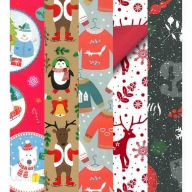 15x kerstmis kadopapier rollen 2,5 x 0,7 meter voor kinderen kopen