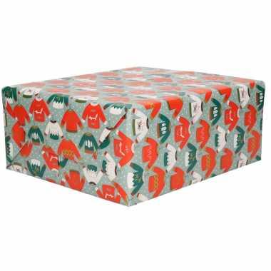 5x rollen inpakpapier/cadeaupapier kerst print blauw 2,5 x 0,7 meter 70 grams luxe kwaliteit kopen