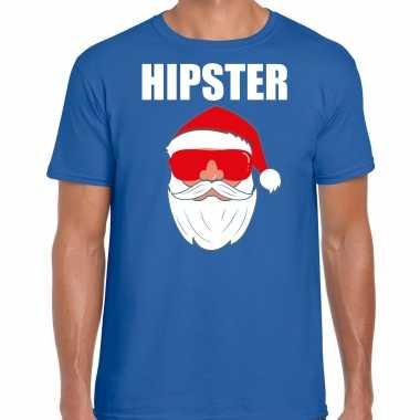 Blauw kersttrui / kerstkleding hipster voor heren met kerstman met zonnebril kopen