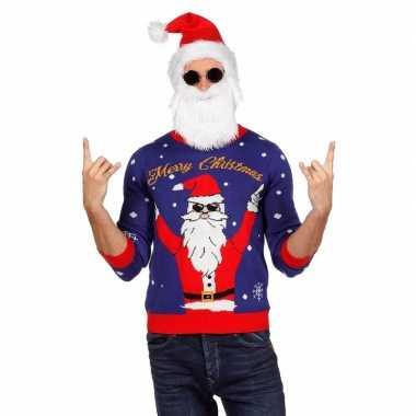 Blauwe foute kersttrui met rockende kerstman