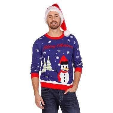 Blauwe foute kersttrui met sneeuwpop kopen