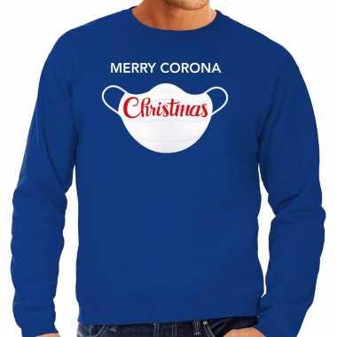 Blauwe kersttrui / kerstkleding merry corona christmas voor heren grote maten kopen