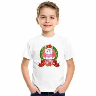 Eenhoorn kerstmis shirt wit voor kinderen kopen