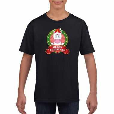 Eenhoorn kerstmis shirt zwart voor kinderen kopen