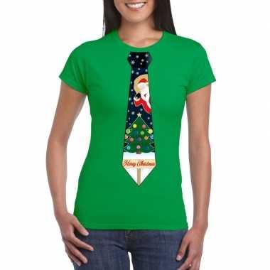 Fout kerst shirt groen kerstboom stropdas voor dames kopen