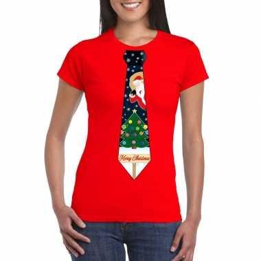 Fout kerst shirt rood kerstboom stropdas voor dames kopen