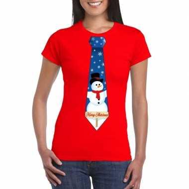 Fout kerst shirt rood sneeuwman stropdas voor dames kopen