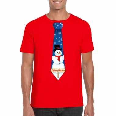 Fout kerst shirt rood sneeuwman stropdas voor heren kopen