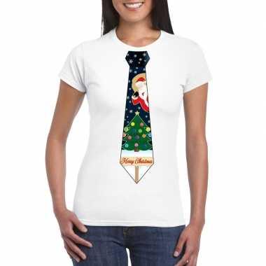 Fout kerst shirt wit kerstboom stropdas voor dames kopen