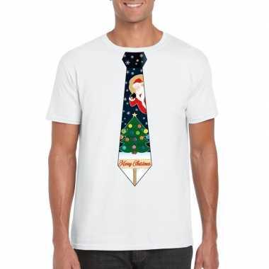Fout kerst shirt wit kerstboom stropdas voor heren kopen
