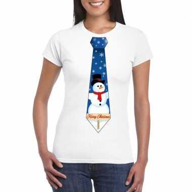 Fout kerst shirt wit sneeuwman stropdas voor dames kopen