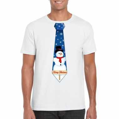 Fout kerst shirt wit sneeuwman stropdas voor heren kopen