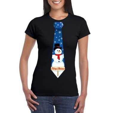 Fout kerst shirt zwart sneeuwman stropdas voor dames kopen