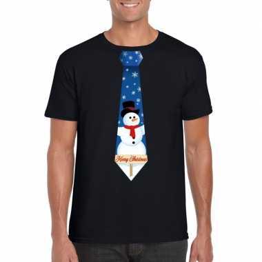 Fout kerst shirt zwart sneeuwman stropdas voor heren kopen
