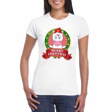 Fout kerstmis shirt met eenhoorn voor dames