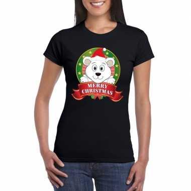 Fout kerstmis shirt zwart met ijsbeer voor dames kopen