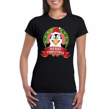 Fout kerstmis shirt zwart met pinguin print voor dames kopen