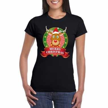 Fout kerstmis shirt zwart met rendier rudolf voor dames kopen