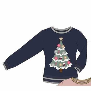 Foute blauwe dames kersttrui met kerstboom kopen