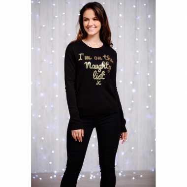 Foute dames kersttrui zwart met gouden pailletten