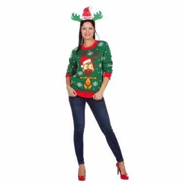 Foute groene kersttrui met rendier voor dames kopen