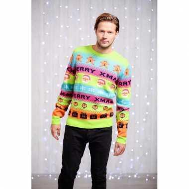 Foute heren kersttrui met felle kleurenprint