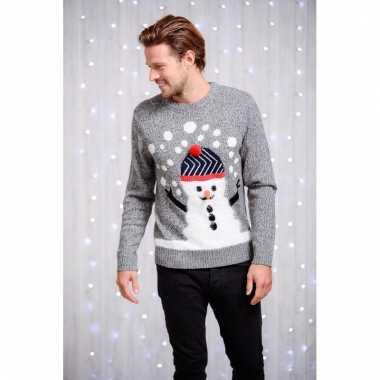 Foute heren kersttrui met sneeuwman kopen