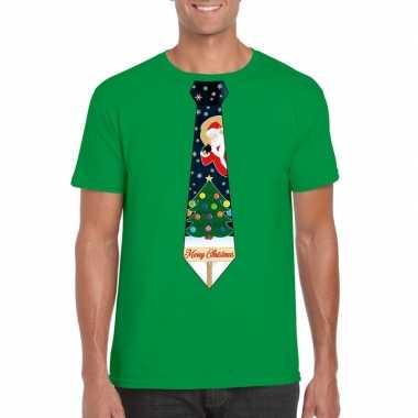 Foute kerst shirt groen kerstboom stropdas voor heren kopen