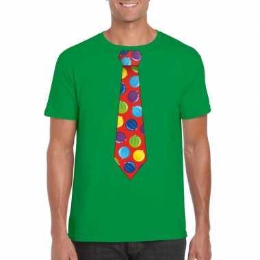 Foute kerst shirt met kerstballen stropdas groen voor heren kopen
