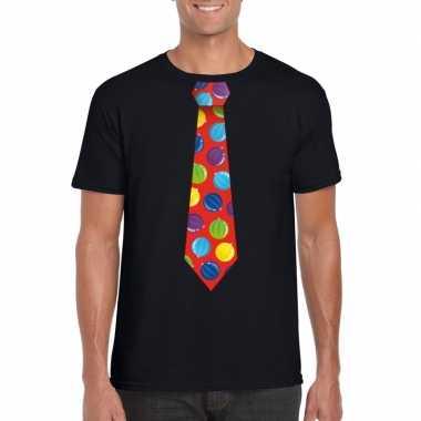 Foute kerst shirt met kerstballen stropdas zwart voor heren kopen