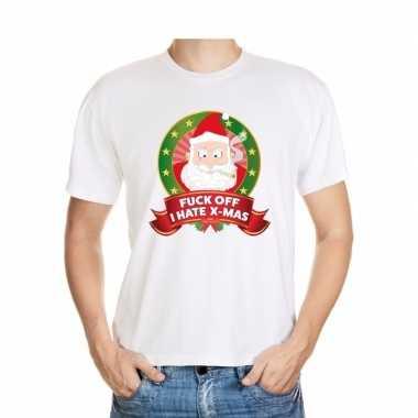 Foute kerst shirt wit fuck off i hate x-mas voor heren kopen