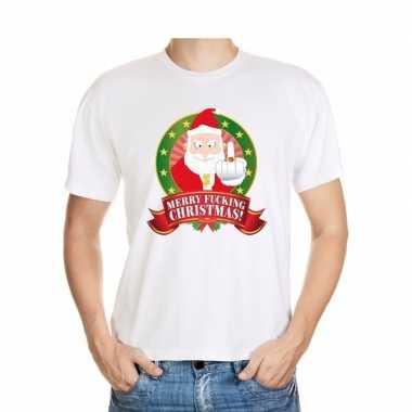Foute kerst shirt wit merry fucking christmas voor heren kopen