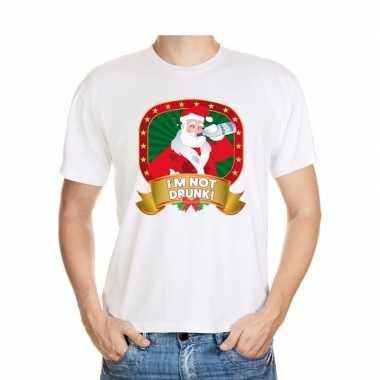 Foute kerst-shirt wit met dronken kerstman voor heren