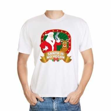 Foute kerst shirt wit santa is no vegan voor heren kopen