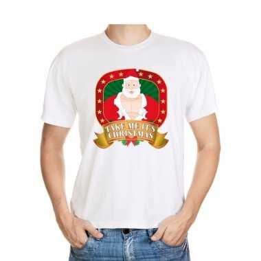 Foute kerst-shirt wit take me it s christmas voor heren
