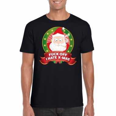 Foute kerst shirt zwart fuck off i hate x-mas voor heren kopen