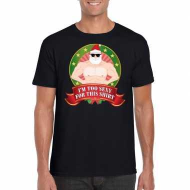 Foute kerst shirt zwart im too sexy for this shirt voor heren kopen