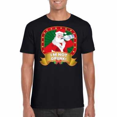 Foute kerst shirt zwart met dronken kerstman voor heren kopen