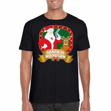 Foute kerst shirt zwart santa is no vegan voor heren kopen