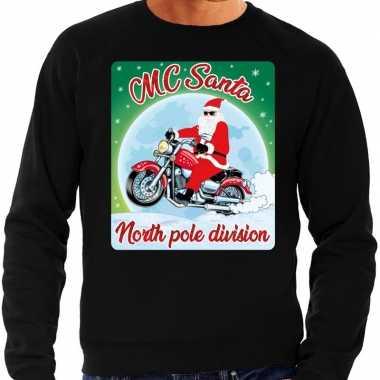 Foute kerstborrel trui / kersttrui mc santa voor moterrijders zwart v