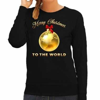 Foute kerstborrel trui / kersttrui merry christmas to the world op zwart dames kopen