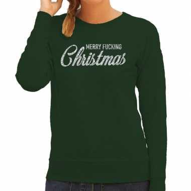 Foute kerstborrel trui / kersttrui merry fucking christmas glitter zilver op groen dames kopen