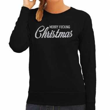 Foute kerstborrel trui / kersttrui merry fucking christmas glitter zilver op zwart dames kopen