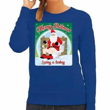 Foute kerstborrel trui / kersttrui merry shitmas blauw voor dames kop