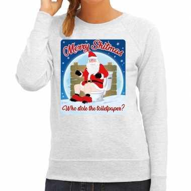 Foute kerstborrel trui / kersttrui merry shitmas grijs voor dames kop