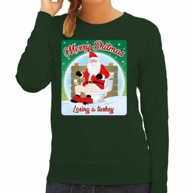 Foute kerstborrel trui / kersttrui merry shitmas groen voor dames kop