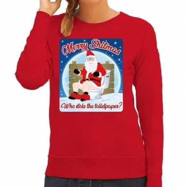 Foute kerstborrel trui / kersttrui merry shitmas rood voor dames kope