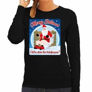 Foute kerstborrel trui / kersttrui merry shitmas zwart voor dames kop