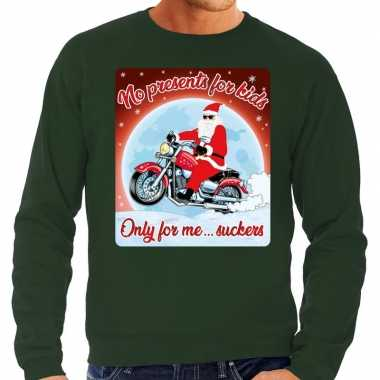 Foute kerstborrel trui / kersttrui no presents for kids groen voor mo