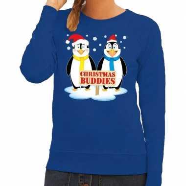Foute kersttrui blauw met 2 pinguins voor dames kopen
